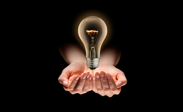 Our vision. Picture of lightbulb.